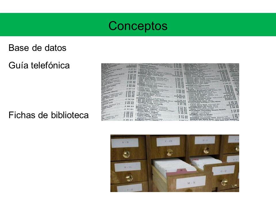 Conceptos Base de datos Guía telefónica Fichas de biblioteca