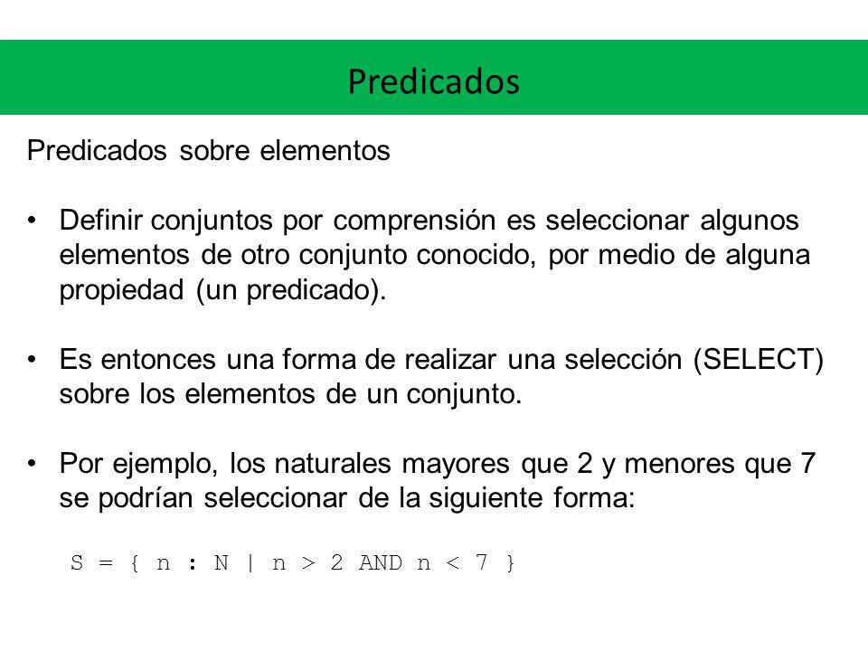 Predicados Predicados sobre elementos Definir conjuntos por comprensión es seleccionar algunos elementos de otro conjunto conocido, por medio de alguna propiedad (un predicado).