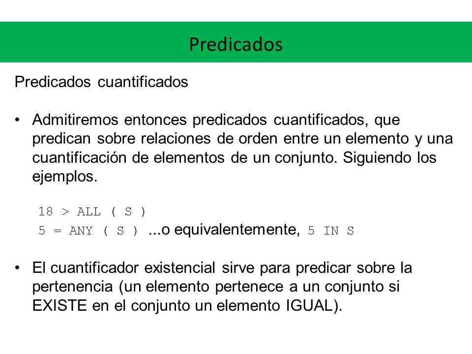 Predicados Predicados cuantificados Admitiremos entonces predicados cuantificados, que predican sobre relaciones de orden entre un elemento y una cuantificación de elementos de un conjunto.