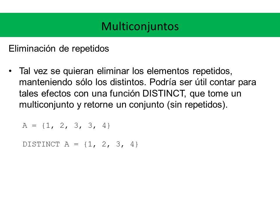 Multiconjuntos Eliminación de repetidos Tal vez se quieran eliminar los elementos repetidos, manteniendo sólo los distintos. Podría ser útil contar pa
