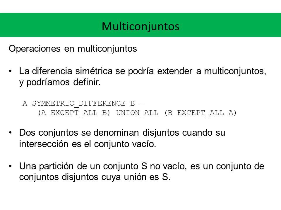 Multiconjuntos Operaciones en multiconjuntos La diferencia simétrica se podría extender a multiconjuntos, y podríamos definir. A SYMMETRIC_DIFFERENCE