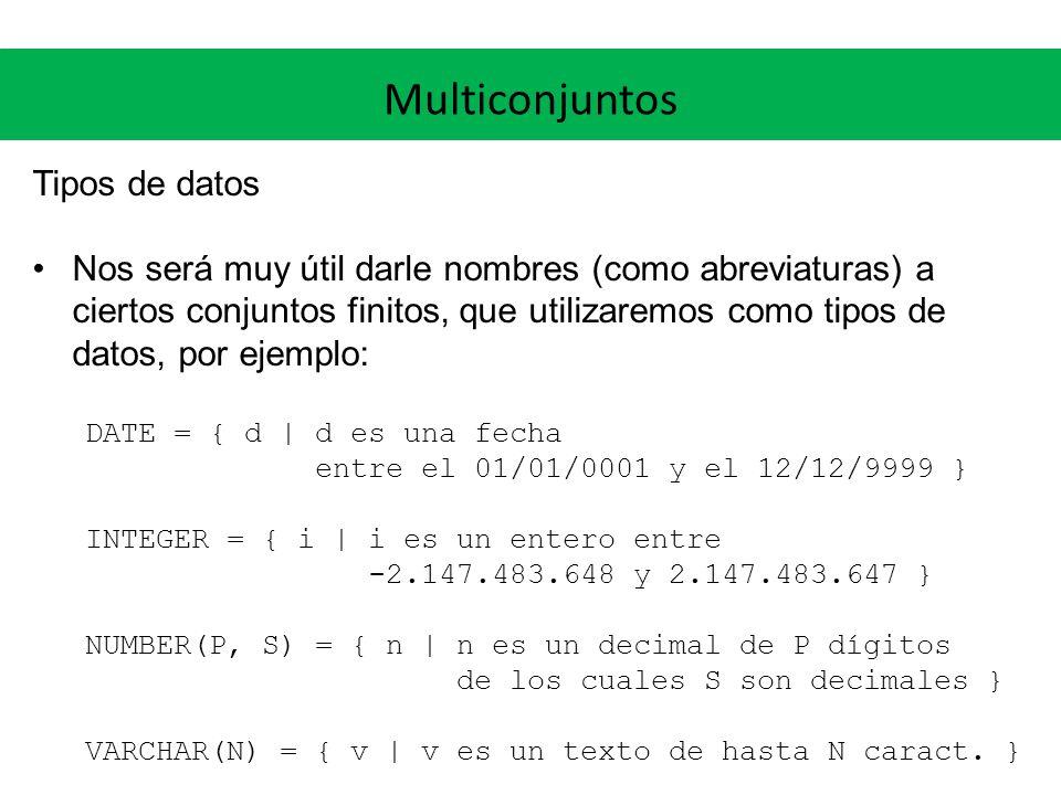 Multiconjuntos Tipos de datos Nos será muy útil darle nombres (como abreviaturas) a ciertos conjuntos finitos, que utilizaremos como tipos de datos, por ejemplo: DATE = { d | d es una fecha entre el 01/01/0001 y el 12/12/9999 } INTEGER = { i | i es un entero entre -2.147.483.648 y 2.147.483.647 } NUMBER(P, S) = { n | n es un decimal de P dígitos de los cuales S son decimales } VARCHAR(N) = { v | v es un texto de hasta N caract.