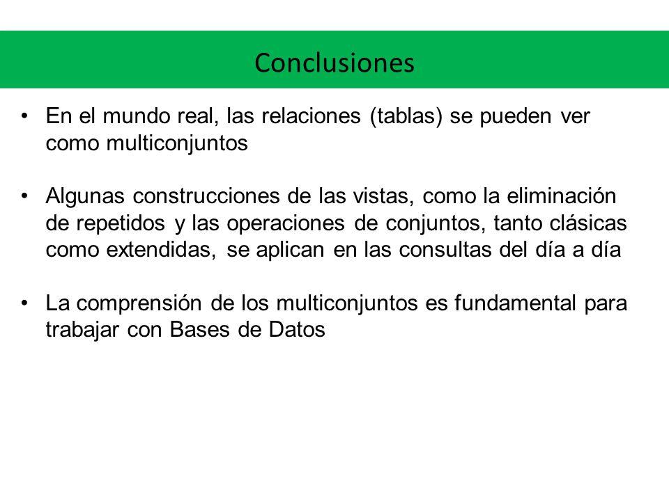 En el mundo real, las relaciones (tablas) se pueden ver como multiconjuntos Algunas construcciones de las vistas, como la eliminación de repetidos y l