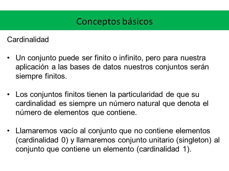 Conceptos básicos Cardinalidad Un conjunto puede ser finito o infinito, pero para nuestra aplicación a las bases de datos nuestros conjuntos serán siempre finitos.