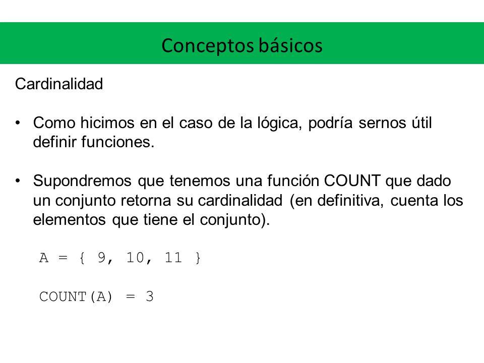 Conceptos básicos Cardinalidad Como hicimos en el caso de la lógica, podría sernos útil definir funciones. Supondremos que tenemos una función COUNT q