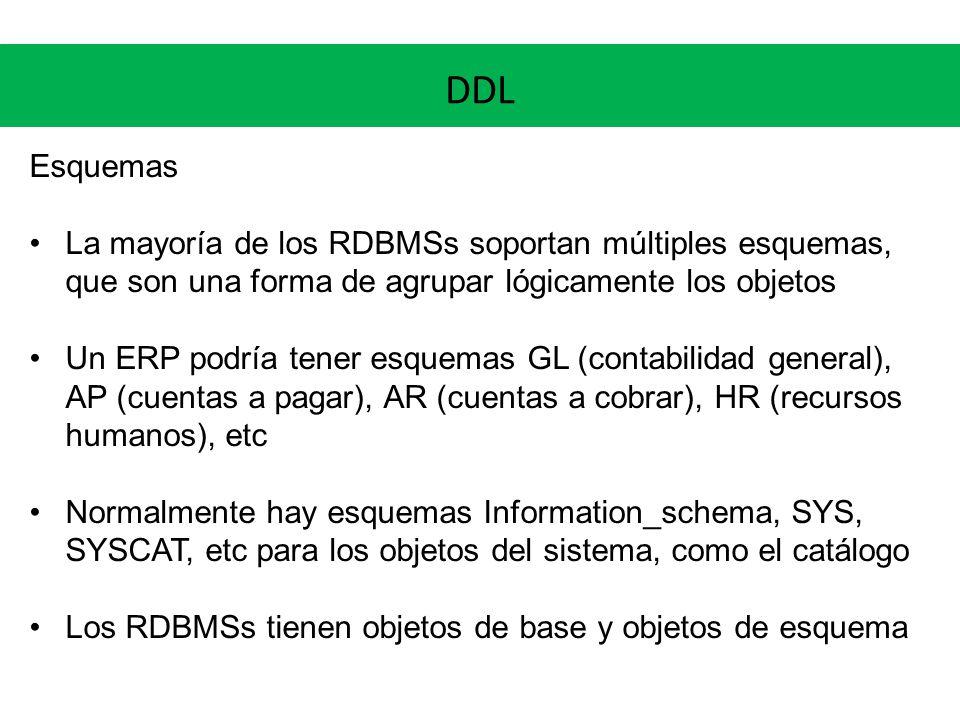 Esquemas La mayoría de los RDBMSs soportan múltiples esquemas, que son una forma de agrupar lógicamente los objetos Un ERP podría tener esquemas GL (c