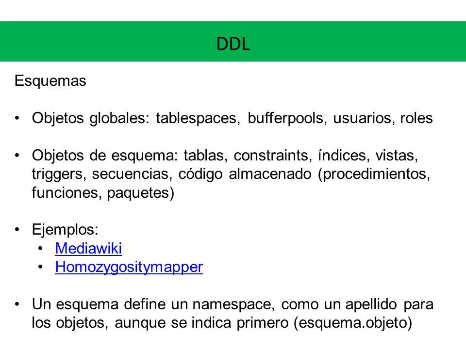 DDL Esquemas Objetos globales: tablespaces, bufferpools, usuarios, roles Objetos de esquema: tablas, constraints, índices, vistas, triggers, secuencia