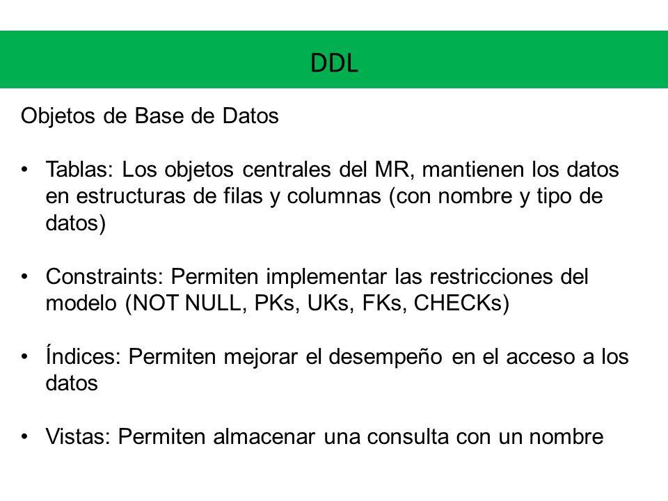 DDL Objetos de Base de Datos Tablas: Los objetos centrales del MR, mantienen los datos en estructuras de filas y columnas (con nombre y tipo de datos)