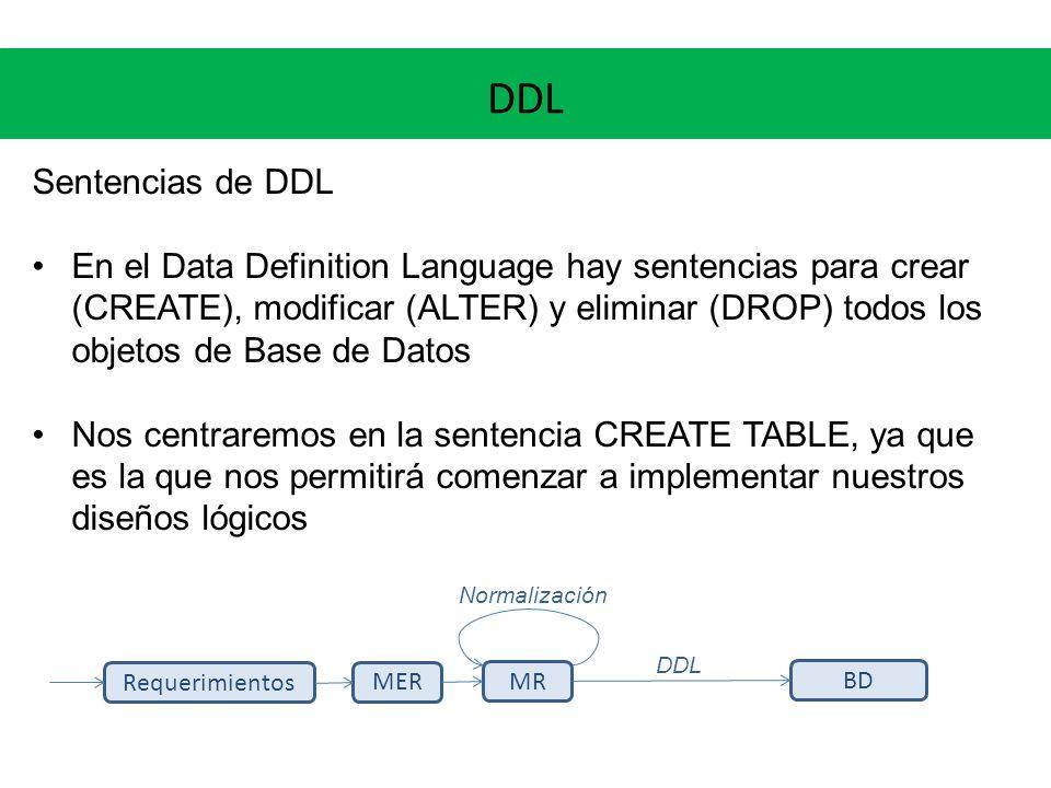 DDL Sentencias de DDL En el Data Definition Language hay sentencias para crear (CREATE), modificar (ALTER) y eliminar (DROP) todos los objetos de Base