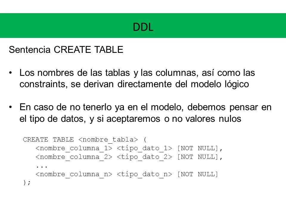 DDL Sentencia CREATE TABLE Los nombres de las tablas y las columnas, así como las constraints, se derivan directamente del modelo lógico En caso de no