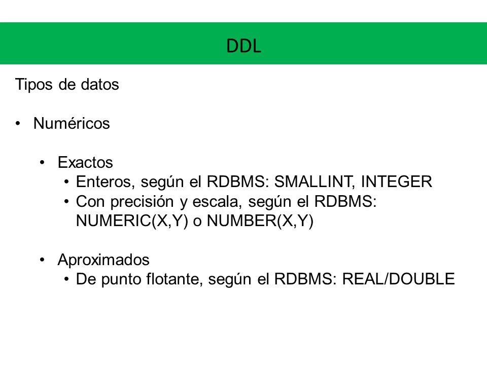 DDL Tipos de datos Numéricos Exactos Enteros, según el RDBMS: SMALLINT, INTEGER Con precisión y escala, según el RDBMS: NUMERIC(X,Y) o NUMBER(X,Y) Apr