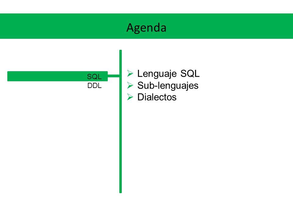DDL Objetos de Base de Datos Tablas: Los objetos centrales del MR, mantienen los datos en estructuras de filas y columnas (con nombre y tipo de datos) Constraints: Permiten implementar las restricciones del modelo (NOT NULL, PKs, UKs, FKs, CHECKs) Índices: Permiten mejorar el desempeño en el acceso a los datos Vistas: Permiten almacenar una consulta con un nombre
