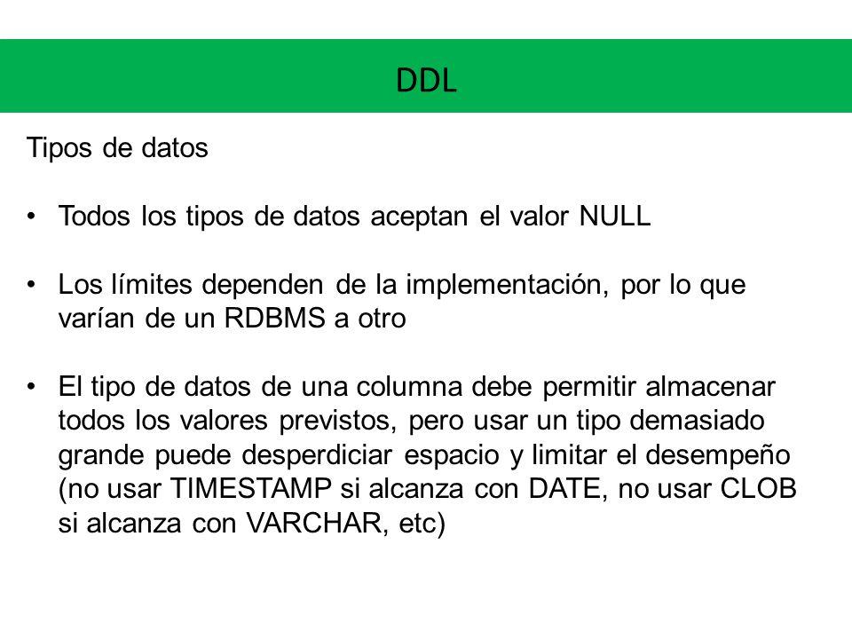 DDL Tipos de datos Todos los tipos de datos aceptan el valor NULL Los límites dependen de la implementación, por lo que varían de un RDBMS a otro El t