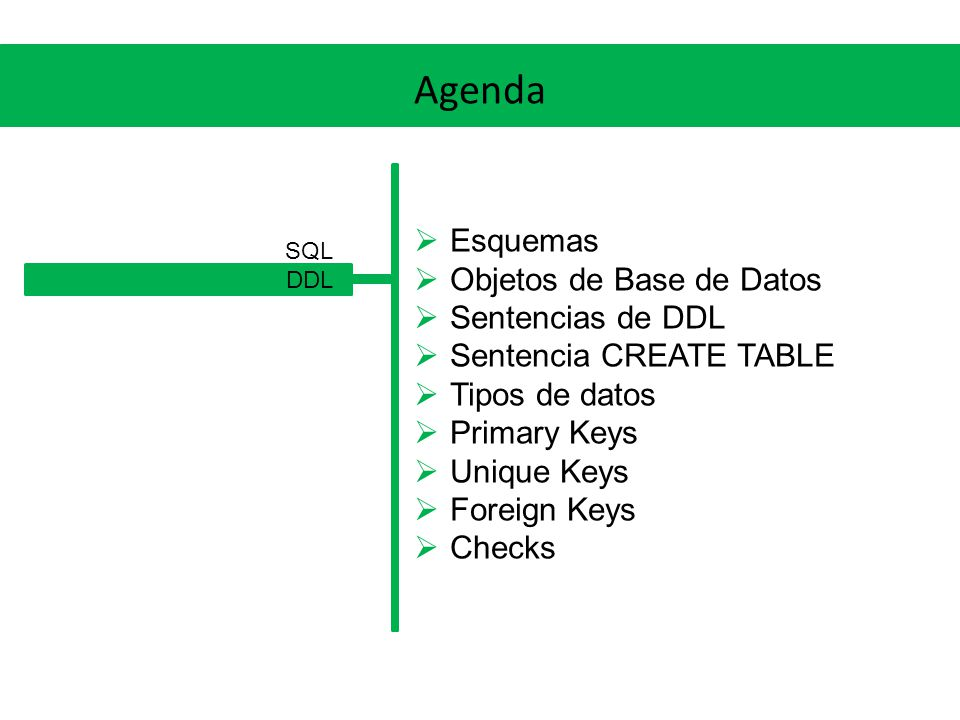 DDL Primary keys Mediante un ALTER TABLE CREATE TABLE ( [NOT NULL],...