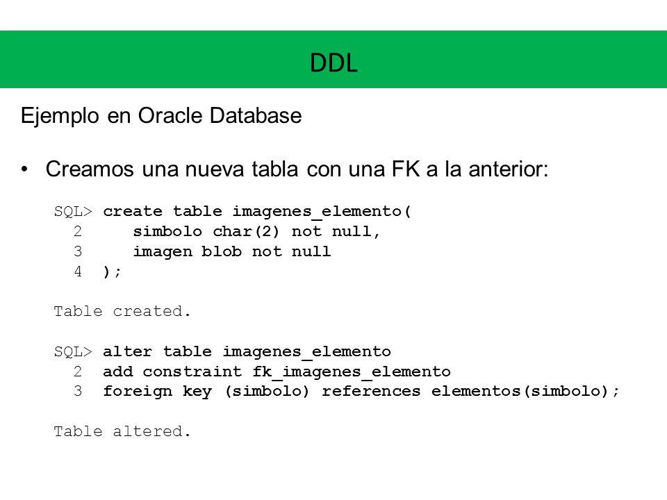 DDL Ejemplo en Oracle Database Creamos una nueva tabla con una FK a la anterior: SQL> create table imagenes_elemento( 2 simbolo char(2) not null, 3 im