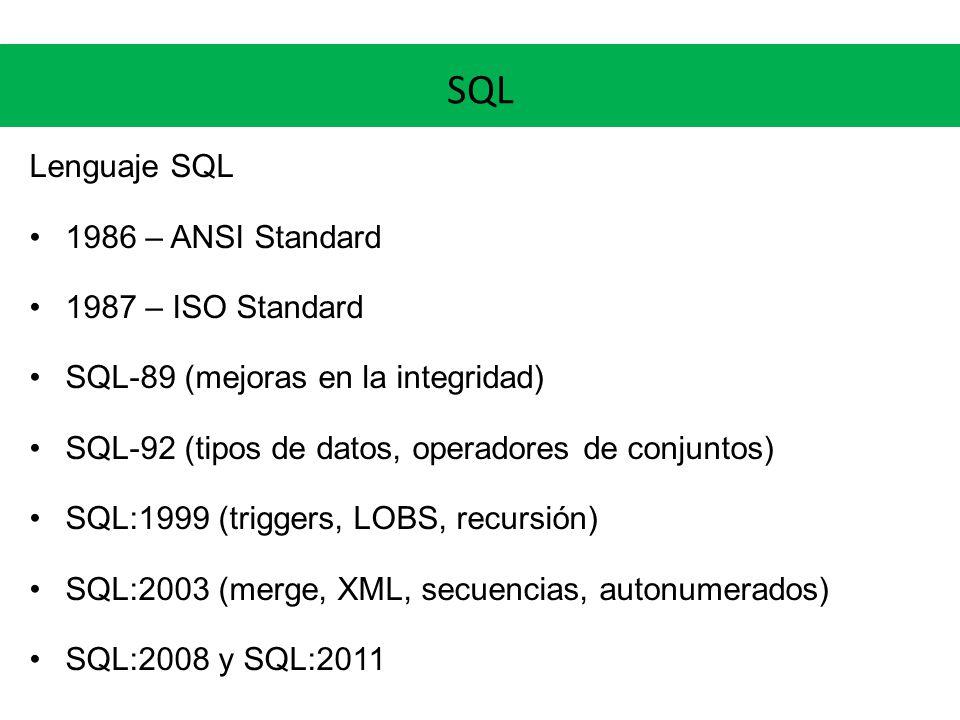 SQL Lenguaje SQL 1986 – ANSI Standard 1987 – ISO Standard SQL-89 (mejoras en la integridad) SQL-92 (tipos de datos, operadores de conjuntos) SQL:1999