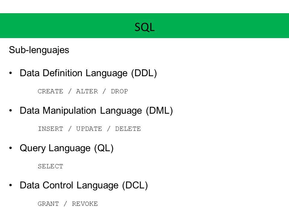 SQL Sub-lenguajes Data Definition Language (DDL) CREATE / ALTER / DROP Data Manipulation Language (DML) INSERT / UPDATE / DELETE Query Language (QL) S