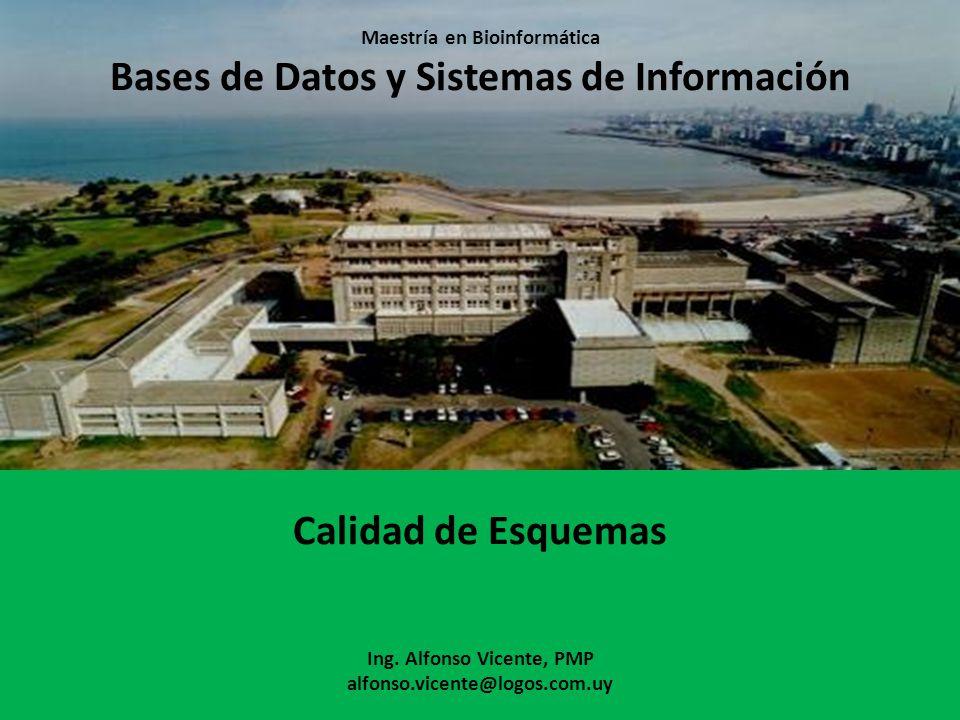 Maestría en Bioinformática Bases de Datos y Sistemas de Información Calidad de Esquemas Ing. Alfonso Vicente, PMP alfonso.vicente@logos.com.uy