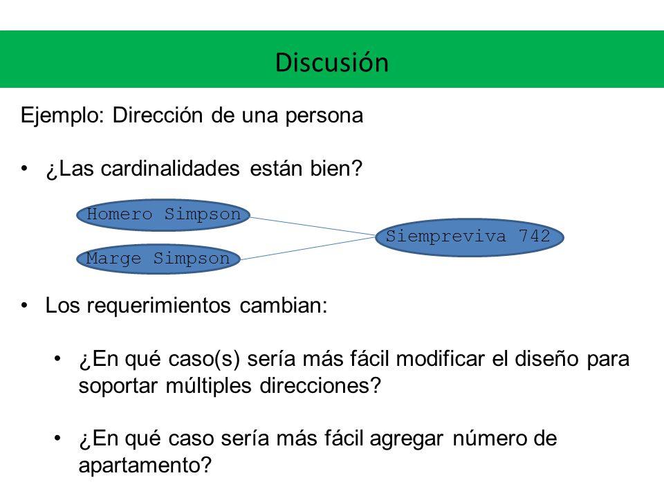 Discusión Ejemplo: Dirección de una persona ¿Las cardinalidades están bien.
