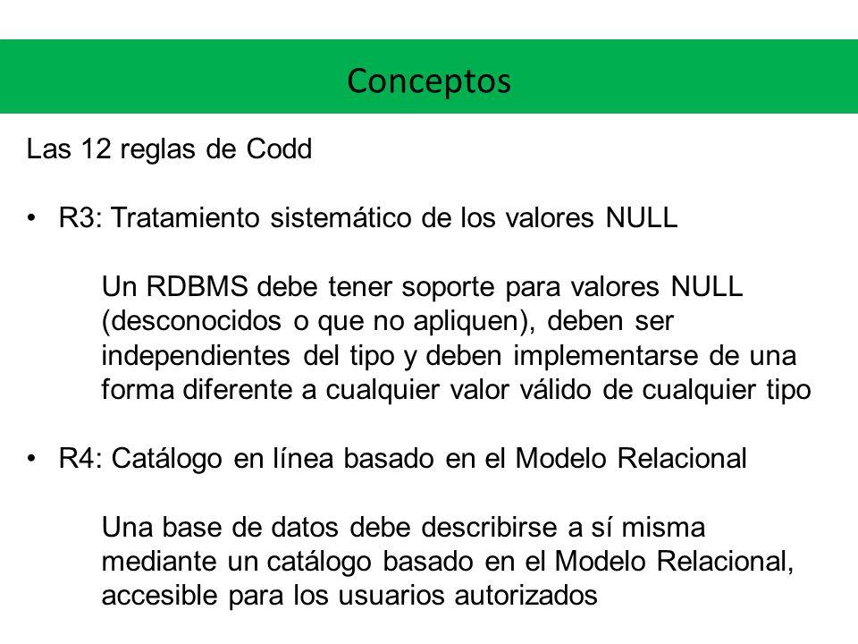 Conceptos Las 12 reglas de Codd R3: Tratamiento sistemático de los valores NULL Un RDBMS debe tener soporte para valores NULL (desconocidos o que no a