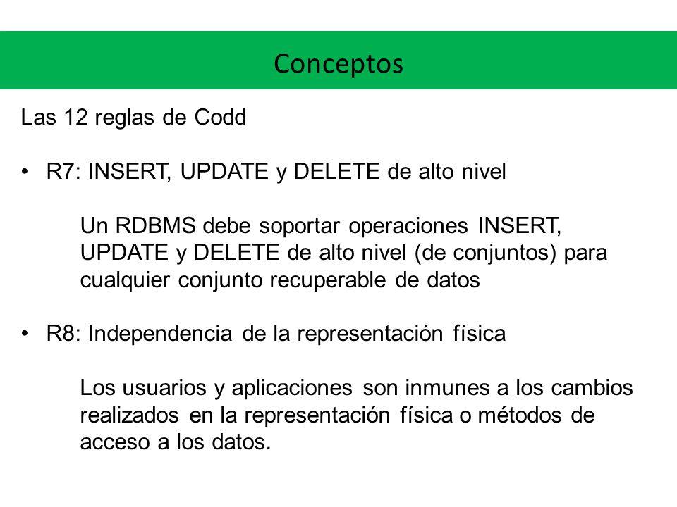 Conceptos Las 12 reglas de Codd R7: INSERT, UPDATE y DELETE de alto nivel Un RDBMS debe soportar operaciones INSERT, UPDATE y DELETE de alto nivel (de