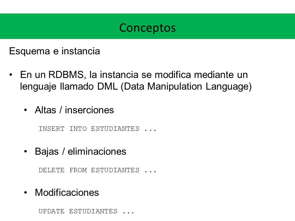 Conceptos Esquema e instancia En un RDBMS, la instancia se modifica mediante un lenguaje llamado DML (Data Manipulation Language) Altas / inserciones