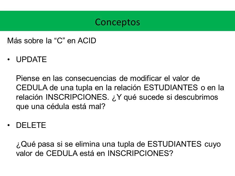 Conceptos Más sobre la C en ACID UPDATE Piense en las consecuencias de modificar el valor de CEDULA de una tupla en la relación ESTUDIANTES o en la re