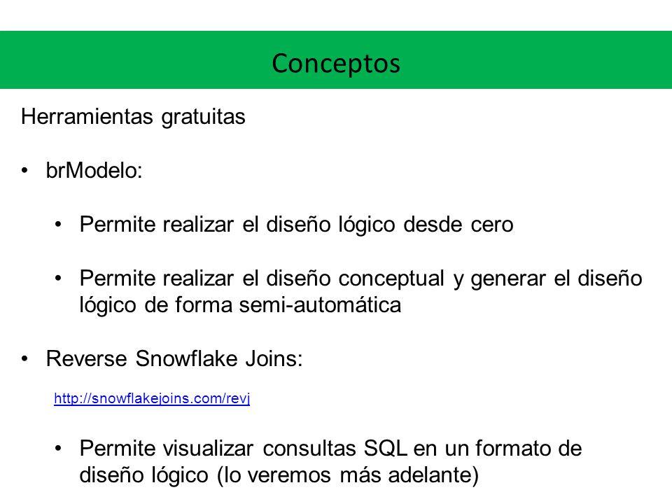 Conceptos Herramientas gratuitas brModelo: Permite realizar el diseño lógico desde cero Permite realizar el diseño conceptual y generar el diseño lógi