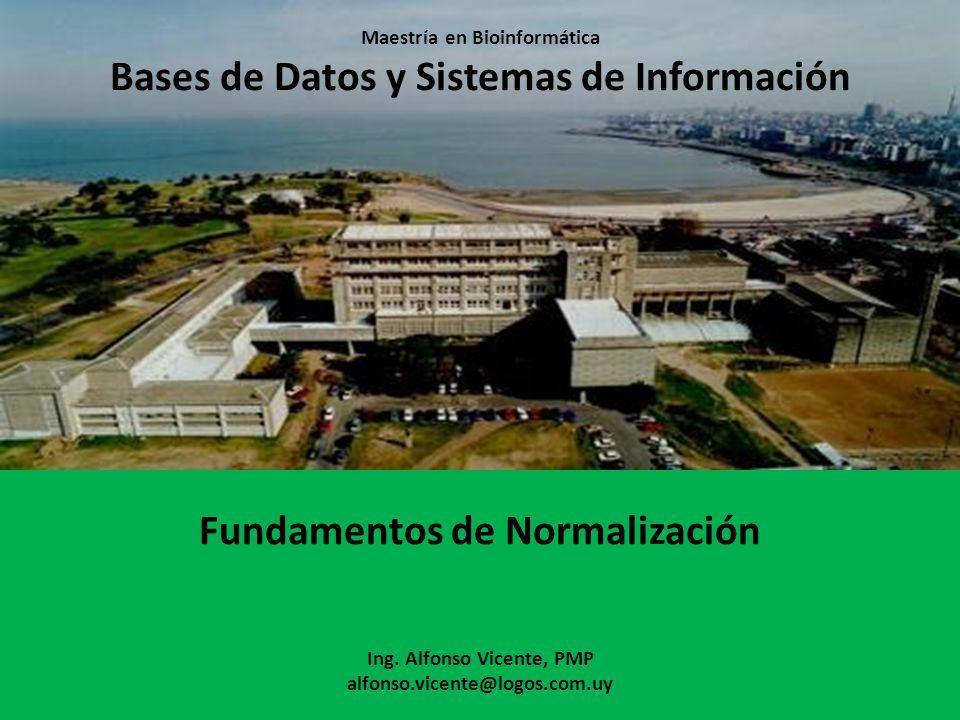 Maestría en Bioinformática Bases de Datos y Sistemas de Información Fundamentos de Normalización Ing.