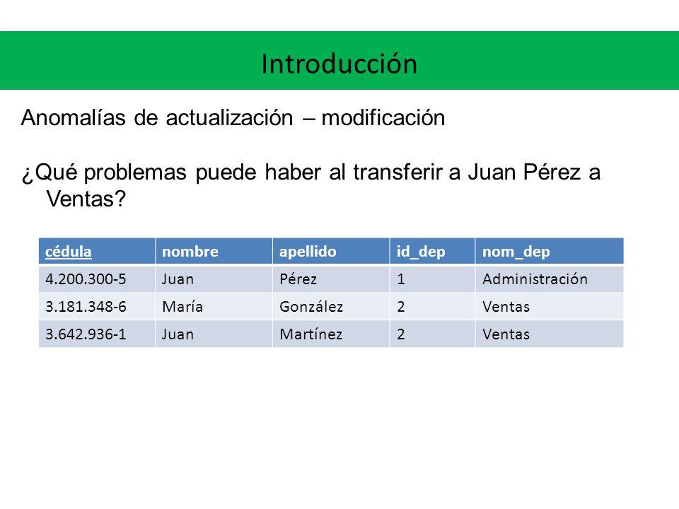 Introducción Anomalías de actualización – modificación ¿Qué problemas puede haber al transferir a Juan Pérez a Ventas.