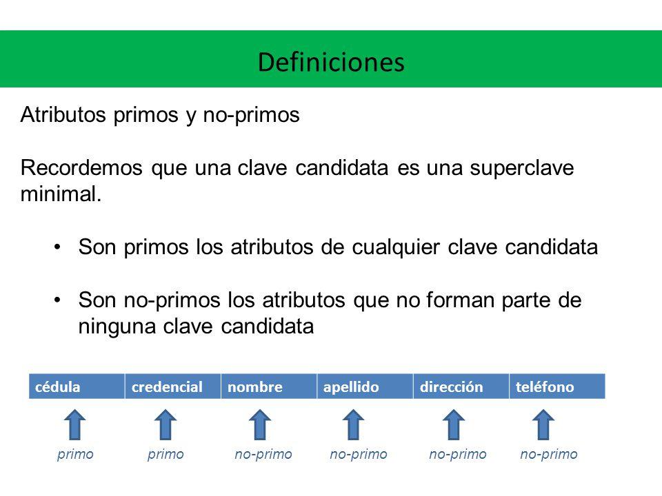 Definiciones Atributos primos y no-primos Recordemos que una clave candidata es una superclave minimal.