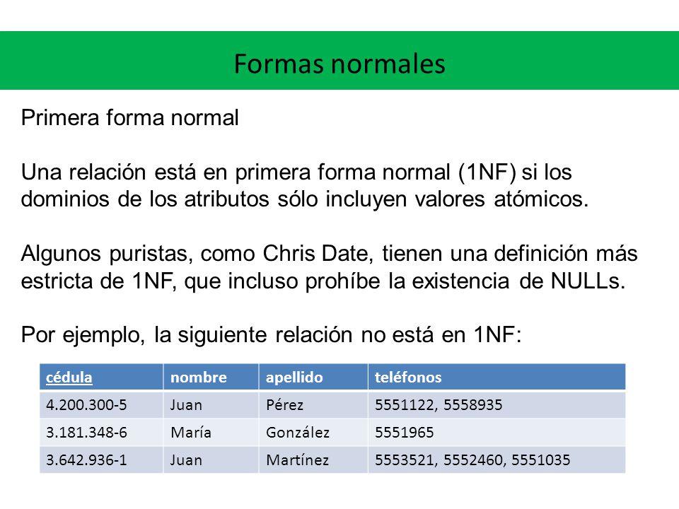 Primera forma normal Una relación está en primera forma normal (1NF) si los dominios de los atributos sólo incluyen valores atómicos.
