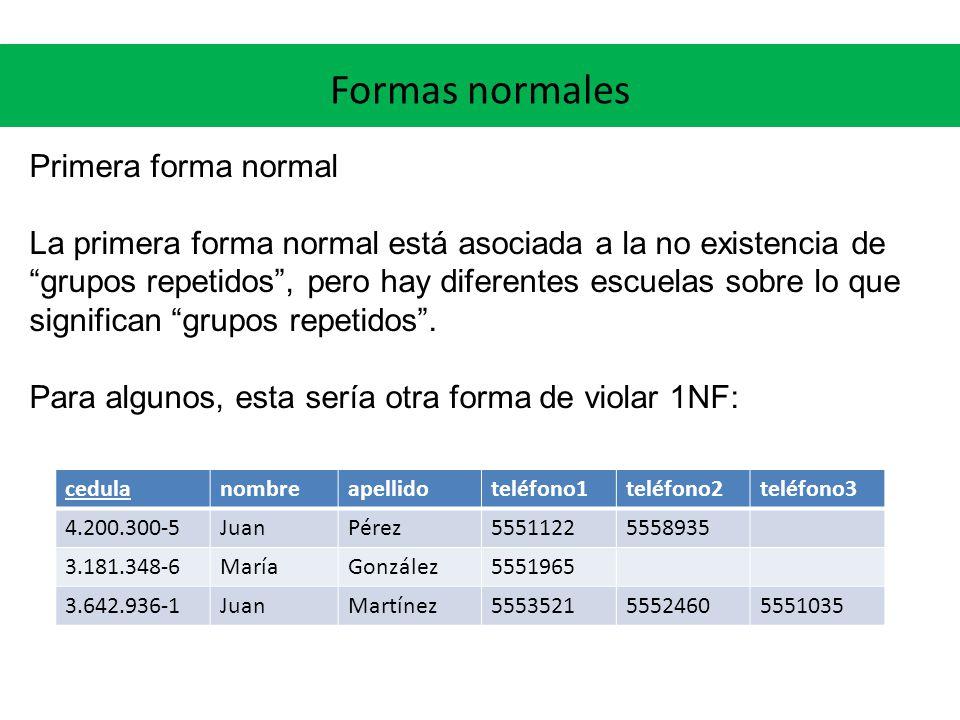 Formas normales Primera forma normal La primera forma normal está asociada a la no existencia de grupos repetidos, pero hay diferentes escuelas sobre lo que significan grupos repetidos.