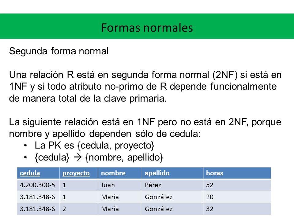 Formas normales Segunda forma normal Una relación R está en segunda forma normal (2NF) si está en 1NF y si todo atributo no-primo de R depende funcionalmente de manera total de la clave primaria.