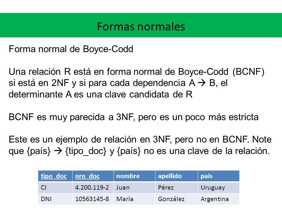 Formas normales Forma normal de Boyce-Codd Una relación R está en forma normal de Boyce-Codd (BCNF) si está en 2NF y si para cada dependencia A B, el determinante A es una clave candidata de R BCNF es muy parecida a 3NF, pero es un poco más estricta Este es un ejemplo de relación en 3NF, pero no en BCNF.