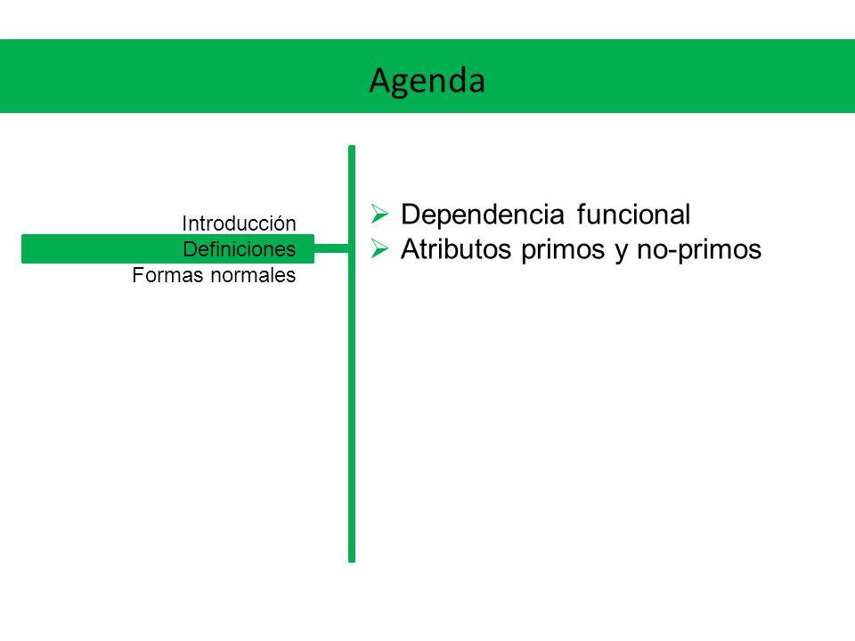 Agenda Dependencia funcional Atributos primos y no-primos Introducción Definiciones Formas normales