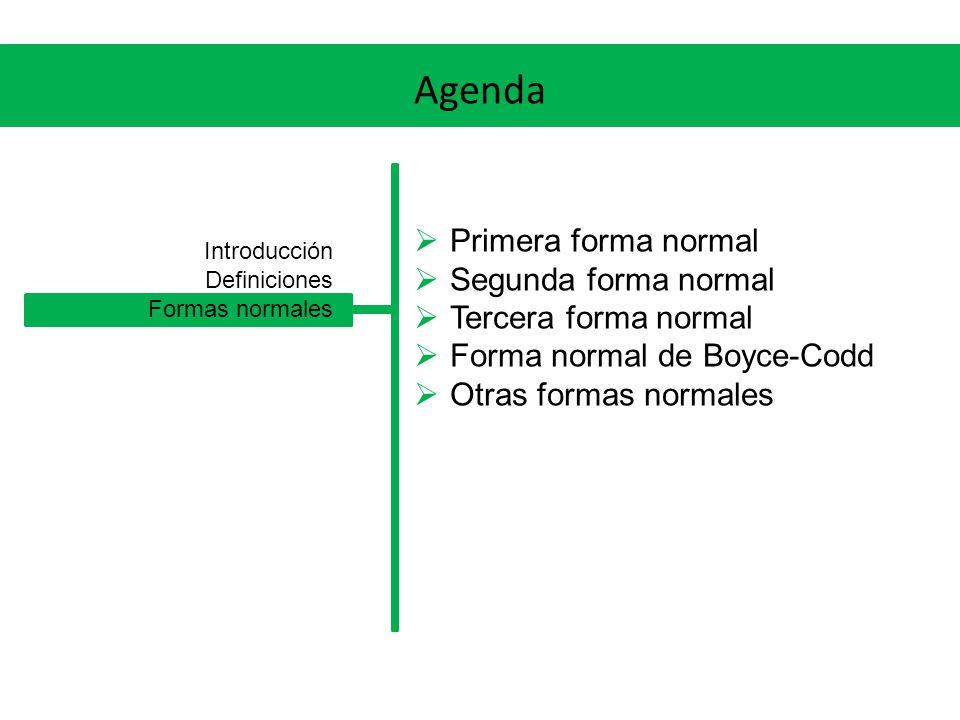 Formas normales Otras formas normales Existen otras formas normales que no veremos (4NF, 5NF) cada una más restrictiva que la anterior.
