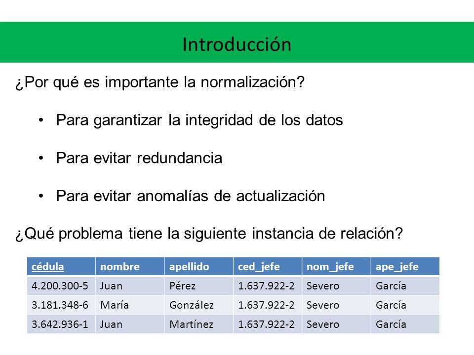 Introducción Anomalías de actualización – inserción ¿Qué problemas puede haber al insertar un nuevo empleado.