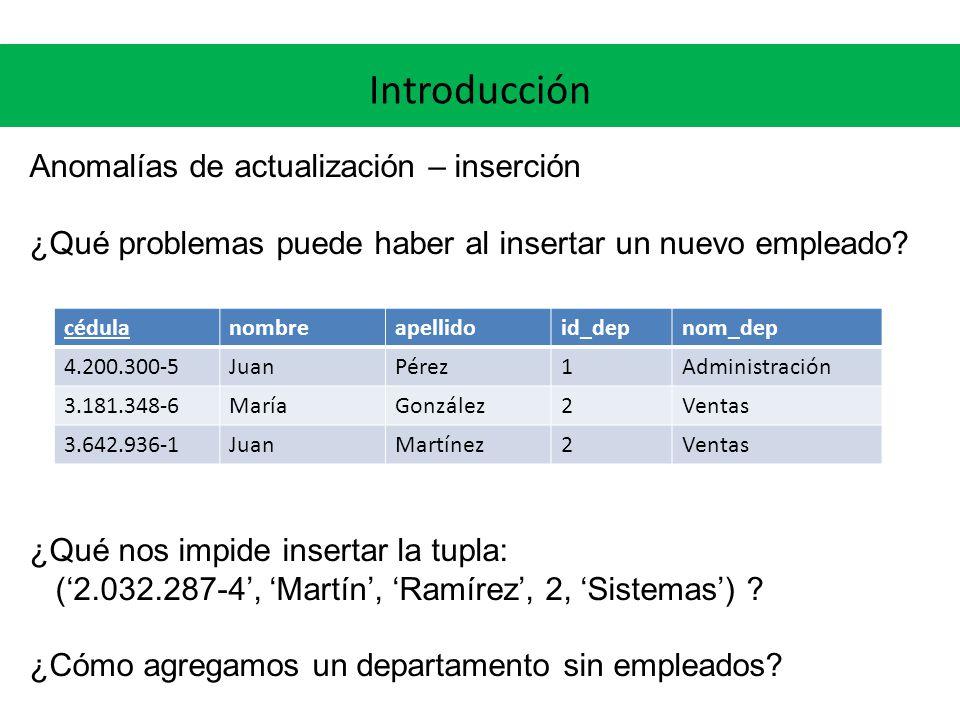 Introducción Anomalías de actualización – eliminación ¿Qué problemas puede haber al eliminar a Juan Pérez.