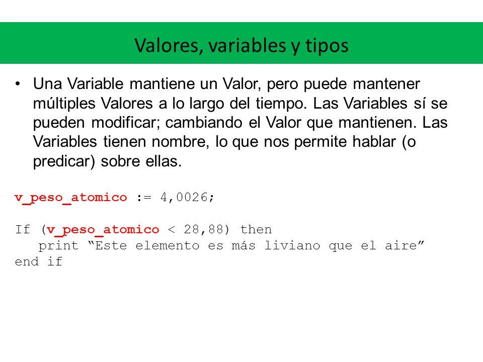 Valores, variables y tipos Una Variable mantiene un Valor, pero puede mantener múltiples Valores a lo largo del tiempo. Las Variables sí se pueden mod