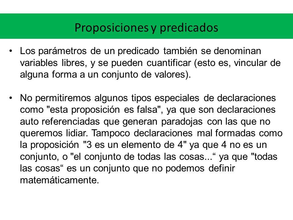 Proposiciones y predicados Los parámetros de un predicado también se denominan variables libres, y se pueden cuantificar (esto es, vincular de alguna