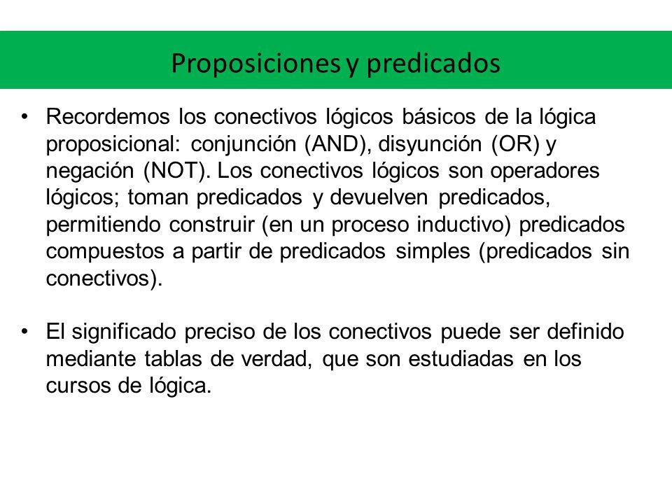 Proposiciones y predicados Recordemos los conectivos lógicos básicos de la lógica proposicional: conjunción (AND), disyunción (OR) y negación (NOT). L