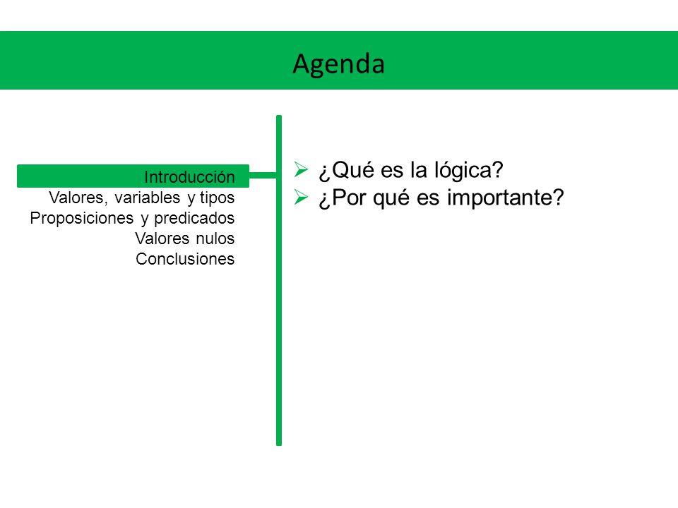 Agenda ¿Qué es la lógica? ¿Por qué es importante? Introducción Valores, variables y tipos Proposiciones y predicados Valores nulos Conclusiones