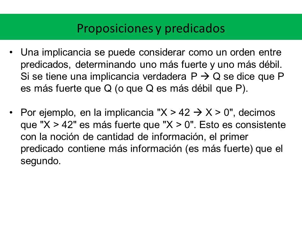 Proposiciones y predicados Una implicancia se puede considerar como un orden entre predicados, determinando uno más fuerte y uno más débil. Si se tien