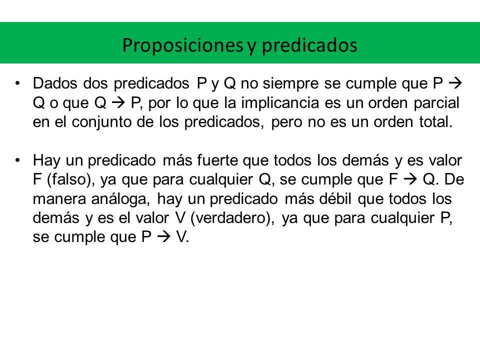 Proposiciones y predicados Dados dos predicados P y Q no siempre se cumple que P Q o que Q P, por lo que la implicancia es un orden parcial en el conj
