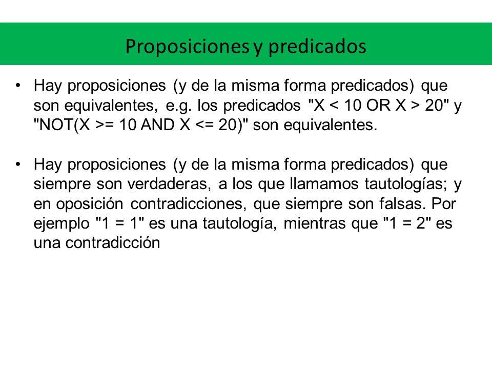 Proposiciones y predicados Hay proposiciones (y de la misma forma predicados) que son equivalentes, e.g. los predicados