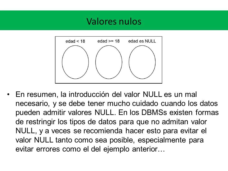 Valores nulos En resumen, la introducción del valor NULL es un mal necesario, y se debe tener mucho cuidado cuando los datos pueden admitir valores NU