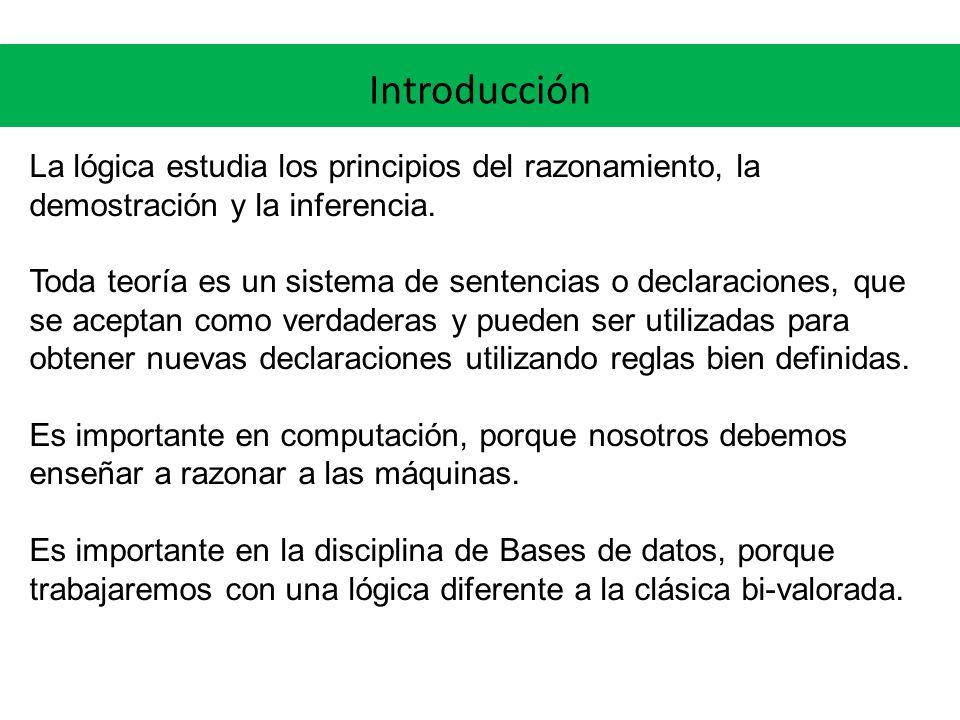 Introducción La lógica estudia los principios del razonamiento, la demostración y la inferencia. Toda teoría es un sistema de sentencias o declaracion