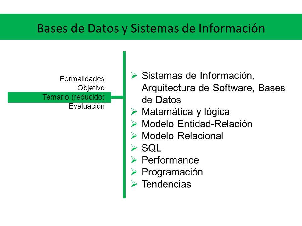 Bases de Datos y Sistemas de Información Trabajos obligatorios individuales Prueba escrita final individual Formalidades Objetivo Temario (reducido) Evaluación