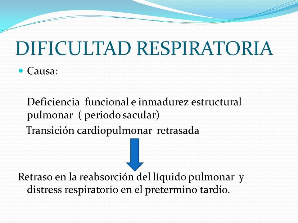 DIFICULTAD RESPIRATORIA Causa: Deficiencia funcional e inmadurez estructural pulmonar ( periodo sacular) Transición cardiopulmonar retrasada Retraso e